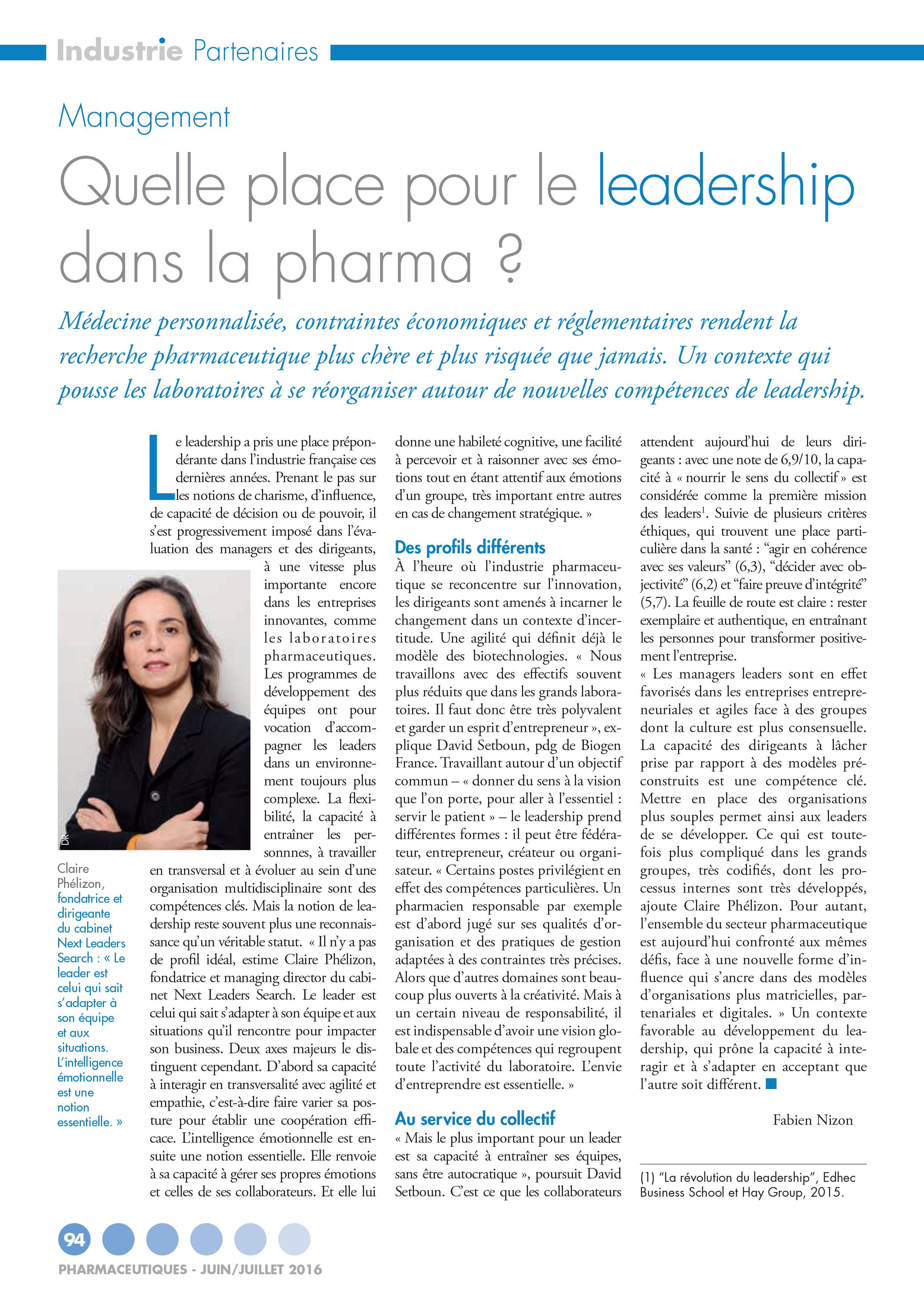 article Pharmaceutiques juillet 2016